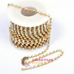 Стразы на бобине в золотом  оправе, размер SS10 цвет хамелеон