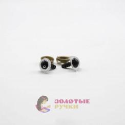 Глазки для игрушки с резьбой 10 мм в упаковке 100шт цвет черно белый