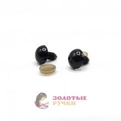 Глазки для игрушки с резьбой 10 мм в упаковке 100шт цвет черный