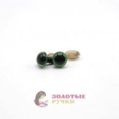 Глазки для игрушки с резьбой 10 мм в упаковке 100шт цвет зелёный