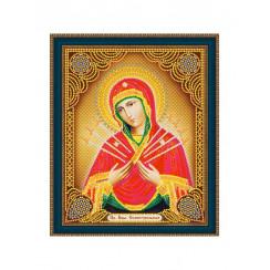 Алмазная мозаика Божией Матери Семистрельная, на подрамнике - размер иконы 27*33