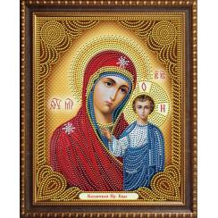 Алмазная мозаика Казанской Богородицы, на подрамнике - размер иконы 27*33