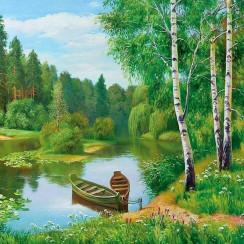 Алмазная мозаика Березы с лодкой, на подрамнике - размер 20*20