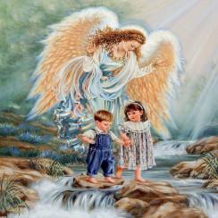Алмазная мозаика Ангел хранитель, на подрамнике - размер 20*30