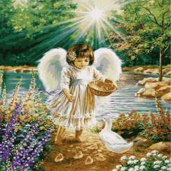 Алмазная мозаика Ангелочек, на подрамнике - размер 20*30