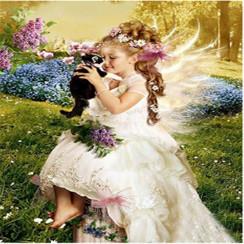 Алмазная мозаика Ангелочек с котенком, на подрамнике - размер 20*30