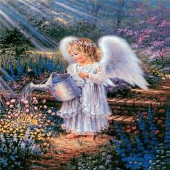 Алмазная мозаика Ангел поливает цветы, на подрамнике - размер 30*40