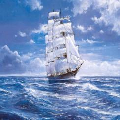 Алмазная мозаика Парусник в море, на подрамнике - размер 30*40