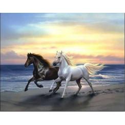 Алмазная мозаика Бегущие кони, без рамки - размер 30*40