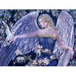 Алмазная мозаика Ангел и голубь под яблоней, без рамки - размер 40*50