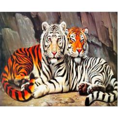 Алмазная мозаика Белый и Бенгальский тигры, без рамки - размер 40*50