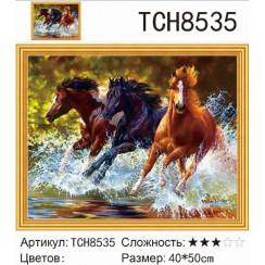 Алмазная мозаика Бегущие лошади, на подрамнике - размер 40*50