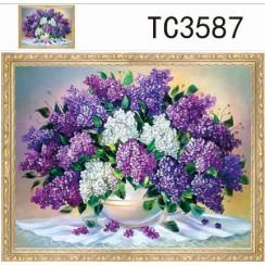 Алмазная мозаика Букет из сирени, на подрамнике - размер 40*50