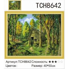 Алмазная мозаика Лесной домик, на подрамнике - размер 40*50