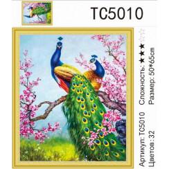 Алмазная мозаика Павлины в сакуре, на подрамнике - размер 50*65
