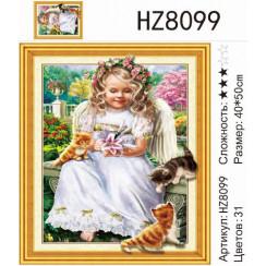 Алмазная мозаика Ангелок с котенком, на подрамнике 5D - размер 40*50