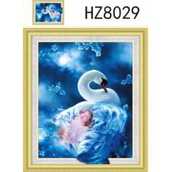 Алмазная мозаика Белый лебедь, на подрамнике 5D - размер 40*50