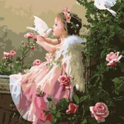Алмазная мозаика Ангел в райском саду, без рамки - размер 20*30