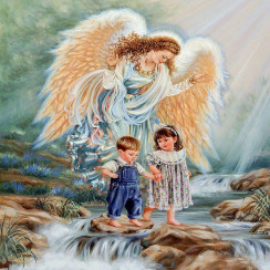 Алмазная мозаика Ангел хранитель, без рамки - размер 20*30