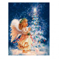 Алмазная мозаика Ангелочек с елочкой, без рамки - размер 20*30