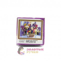 Алмазная мозаика Корзина с ярким букетом размер - 20*30, без рамки