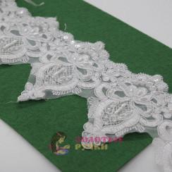 Кружева свадебные с пайеткой и бусинами, цвет белоснежный