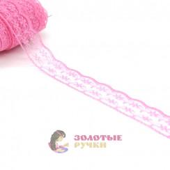 Кружево капрон, ширина 3 см, намотка 45 метров, цвет розовый