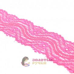 Кружево капрон, стрейч 4 см, намотка 9,3 метров, цвет розовый