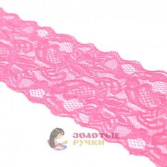 Кружево капрон, стрейч 8 см, намотка 9,3 метров, цвет розовый