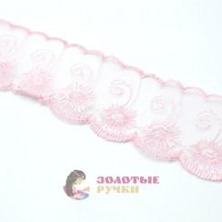 Кружево капрон, сетка 6 см, намотка 9,3 метров, цвет розовый