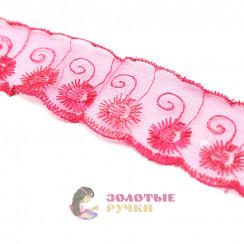 Кружево капрон, сетка 6 см, намотка 9,3 метров, цвет малиновый