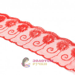 Кружево капрон, сетка 6 см, намотка 9,3 метров, цвет красный