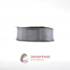 Атласная лента в рулонах по 30 ярдов, ширина 25 мм, цвет темно серый