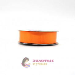 Атласная лента в рулонах по 30 ярдов, ширина 25 мм, цвет оранжевый