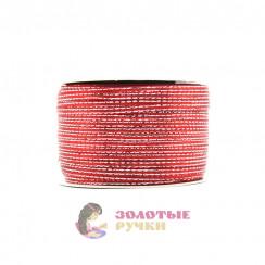 Лента атласная с люрексом, ширина 3 мм, в рулоне 132 метров, цвет красный