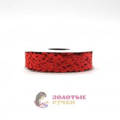 Лента декоративная атласная цветочный узор в упаковке 10 ярд ширина 20 мм цвет красный