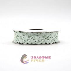 Лента декоративная атласная цветочный узор в упаковке 10 ярд ширина 20 мм цвет белый