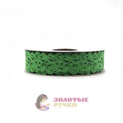 Лента декоративная атласная цветочный узор в упаковке 10 ярд ширина 20 мм цвет зеленый