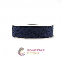 Лента декоративная атласная цветочный узор в упаковке 10 ярд ширина 20 мм цвет темно синий