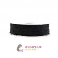 Лента декоративная атласная цветочный узор в упаковке 10 ярд ширина 20 мм цвет черный