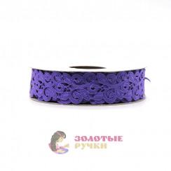 Лента декоративная атласная цветочный узор в упаковке 10 ярд ширина 20 мм цвет сиреневый