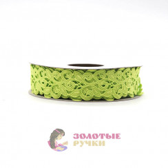 Лента декоративная атласная цветочный узор в упаковке 10 ярд ширина 20 мм цвет салатовый