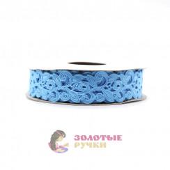 Лента декоративная атласная цветочный узор в упаковке 10 ярд ширина 20 мм цвет голубой