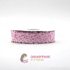 Лента декоративная атласная цветочный узор в упаковке 10 ярд ширина 20 мм цвет розовый