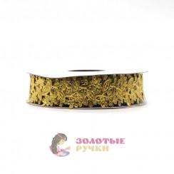 Лента декоративная атласная цветочный узор в упаковке 10 ярд ширина 20 мм цвет золото