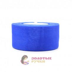 Лента капроновая в рулонах по 50 ярдов, ширина 50 мм, цвет синий василек
