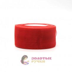 Лента капроновая в рулонах по 50 ярдов, ширина 50 мм, цвет красный