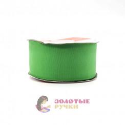 Лента репсовая в рулонах по 30 ярдов, ширина 50 мм, цвет зеленый