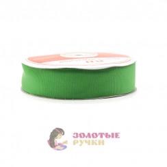 Лента репсовая в рулонах по 30 ярдов, ширина 25 мм, цвет зеленый