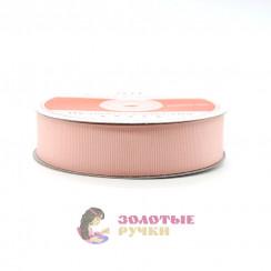 Лента репсовая в рулонах по 30 ярдов, ширина 25 мм, цвет персик